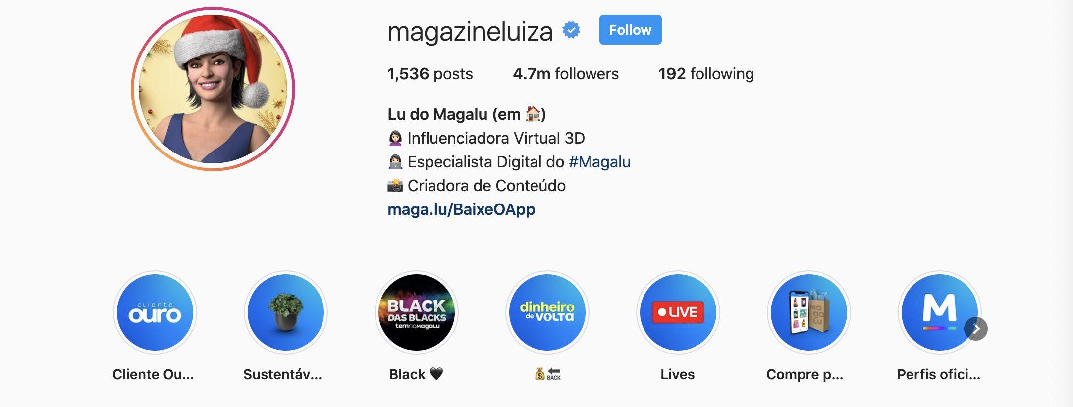 Magazine Luiza Lu virtual influencer