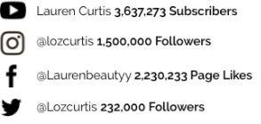 Social media followers Lauren Curtis